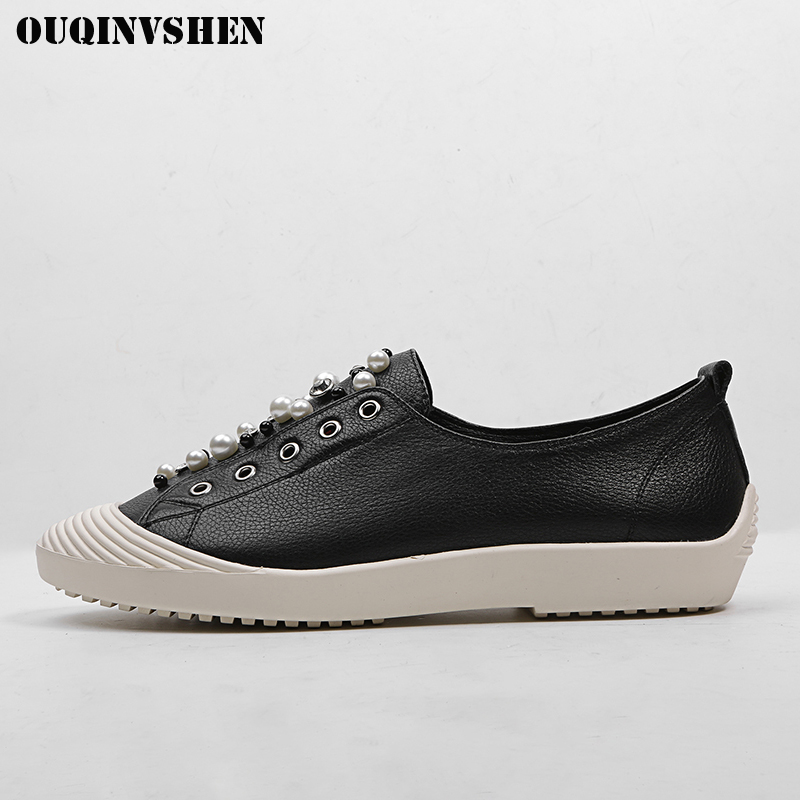 OUQINVSHEN Round Toe Genuine Leather Women Flats Fashion Crystal Pearl Women Flat Shoes 2018 Spring Shallow Ladies White Shoes hot sale 2016 new fashion spring women flats black shoes ladies pointed toe slip on flat women s shoes size 33 43