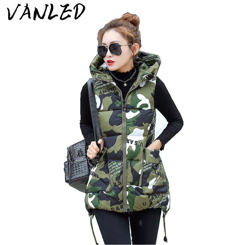 2018 Hot Sale Vadim Vest Women Cotton Vest Womens Winter Hooded Feather Clothing Female Paragraph Camouflage Large Size Jacket
