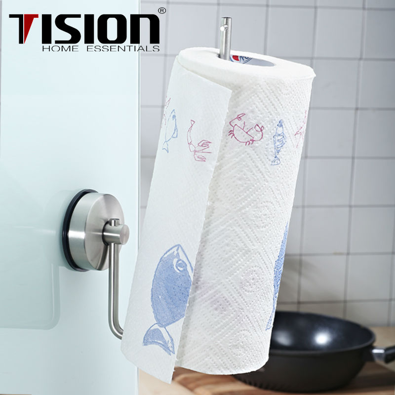 Stainless Steel Suction Kitchen Paper Towel Holder Roll Wall Mounted Er Tissue Toilet Rack In Racks Holders From Home