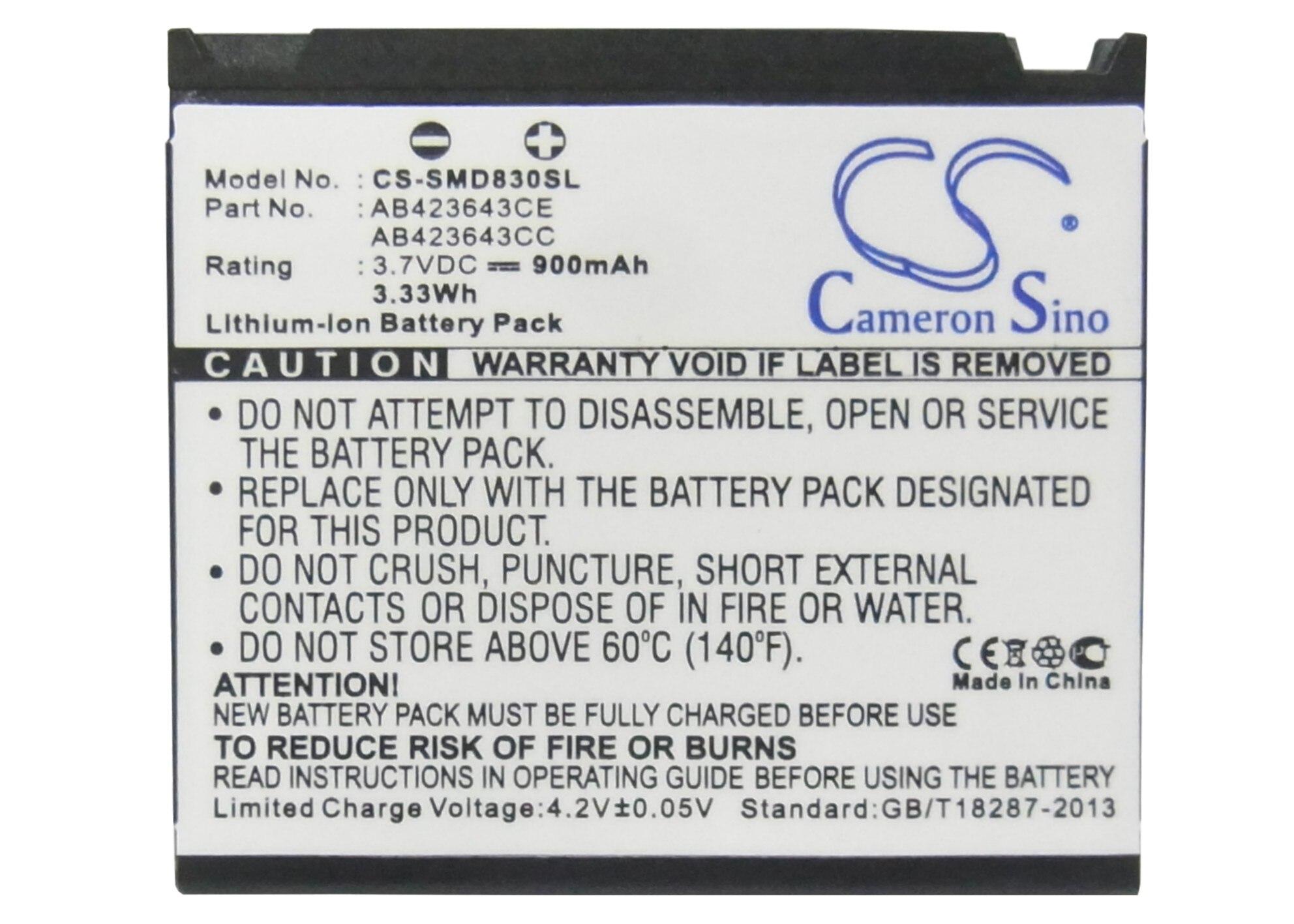 Cameron Sino 900mAh Battery SCBAB1,AB423643CE For Samsung D830,D838,E848,U608,X820,X828,For SoftBank 705SC,707SC,709SC,920SC