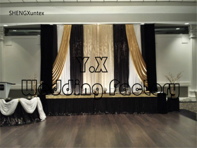 Cheap price wedding backdrop curtains stage background white black gold color