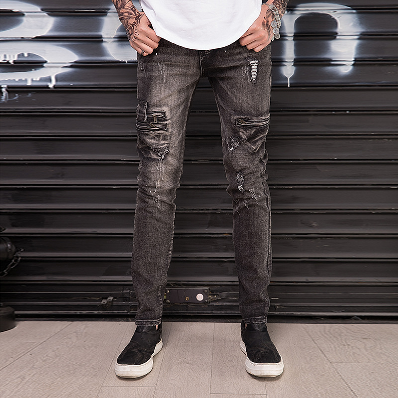 2018 Autumn And Winter High Quality Plus Size 28-42 Men Jeans zipper pocket Slim Racer Biker Jeans Fashion hole Jeans For Men