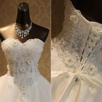 QQ Lover 2021 New Latest Sexy Beaded Wedding Dress Custom Made Plus Size Ball Gown Beautiful