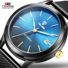 Tevise Top Brand Black Blue Mechanical Clock Men Mesh Steel