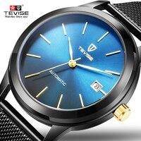 Tevise Marca Top Preto Azul Homens Malha de Aço Relógio Mecânico Automático Relógios Completo Ouro de Luxo Data Mens Relógio de Pulso À Prova de Choque