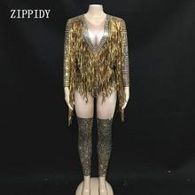 Mono Sexy de diamantes de imitación con flecos dorados para mujer Jazz Dance Big Stretch leotardo
