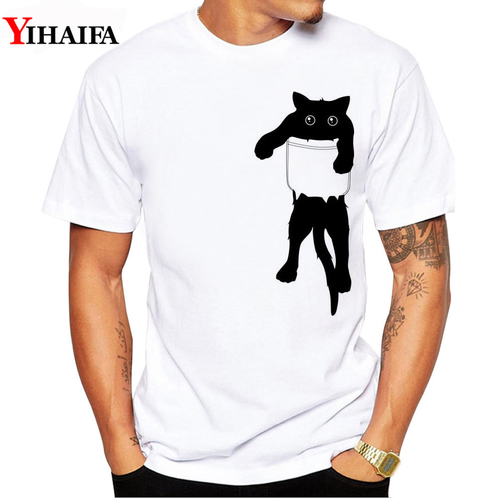Men T-Shirt Pocket Cat Gym Print Hipster Summer Short Sleeve Funny Graphic Printed Tee Shirts White Tops