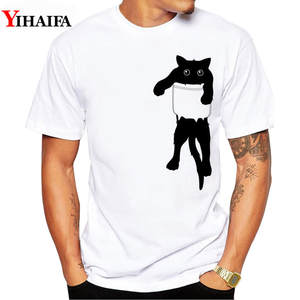 White Tops Tee-Shirts Pocket Short-Sleeve Graphic Hipster Funny Print Summer Cat Gym