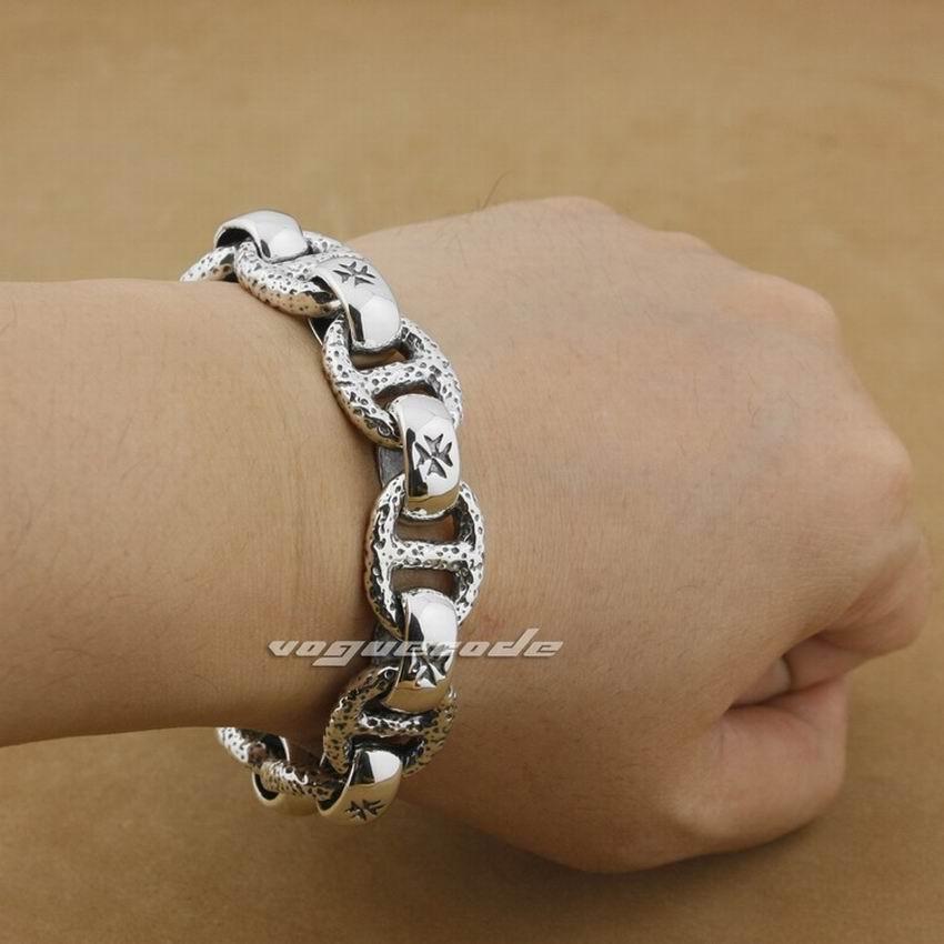 Bracelet à bascule en argent Sterling 925 fait main pour hommes de 5 longueurs 8W006