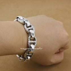 5 Lengths 925 Sterling Silver Handmade Mens Biker Rocker Bracelet 8W006