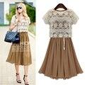 Summer Dress 2015 vestidos Party Dresses Chiffon Brand Khaki Women Dress+Openwork Lace Shawl Casual Elastic Waist Long Dress