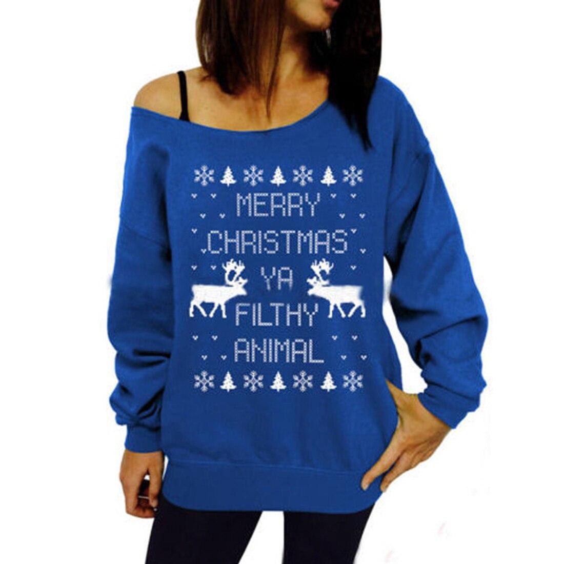 YJSFG HOUSE Christmas Print Women Girls Hoodie Home Party Jacket Deer Top Sweats Sweatshirt Skew Collar Pullover Autumn Casual