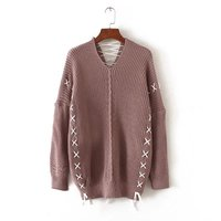 Free shipping casual women's European and American style solid color v neck bandage loose sweater knit pullovers