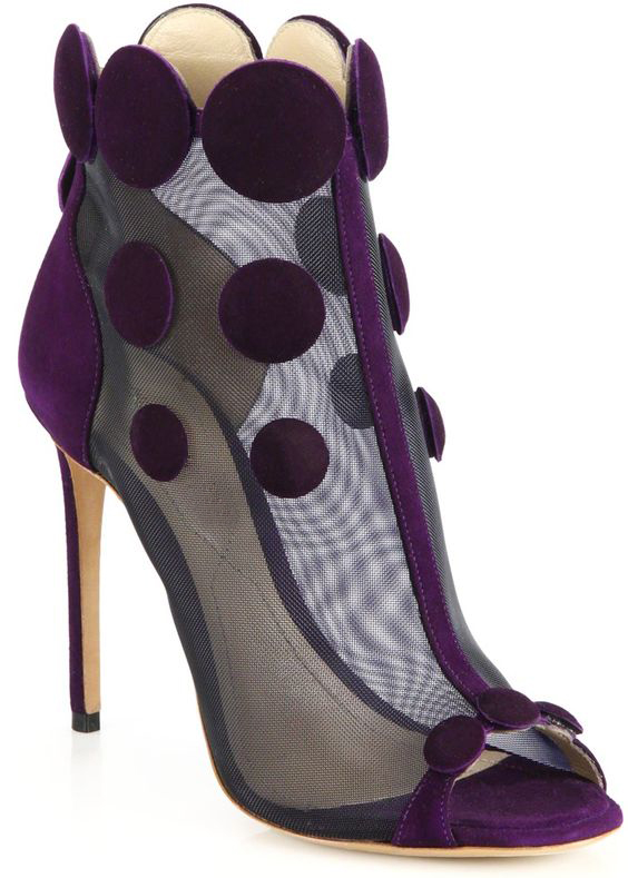 unique design thin high heel purple black suede leather open toe sandal boots mesh circle pattern cut-outs ankle booties
