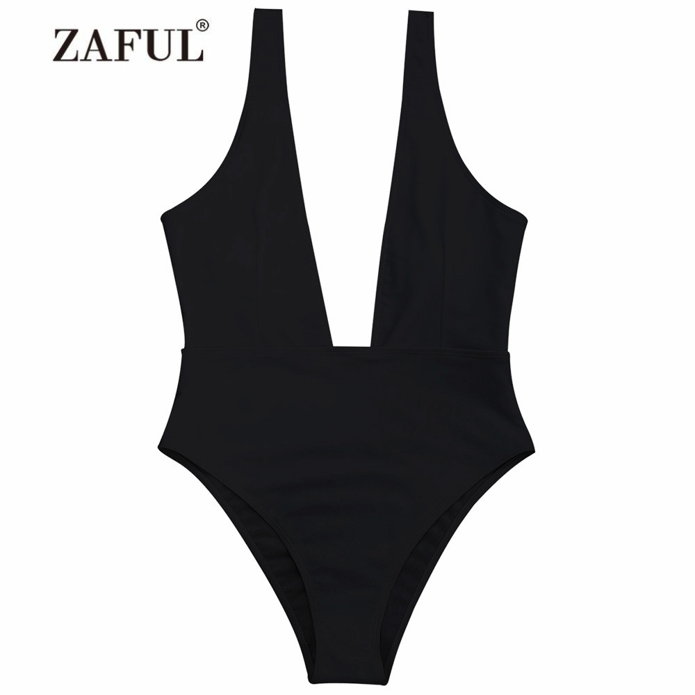 ZAFUL 2018 New Plunging Neck One Piece Swimwear Women Swimsuit Low Cut Padded High Leg One Piece Swimsuit Women Bathing Suit sexy plunging neck sleeveless black one piece swimsuit for women