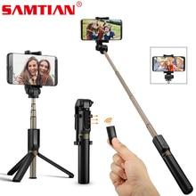 SAMTIAN ไร้สาย Bluetooth Selfie Stick ขาตั้งกล้อง Monopod มือถือแบบพับเก็บได้ 360 หมุนโทรศัพท์สำหรับภาพโทรศัพท์มือถือสมาร์ทโฟน