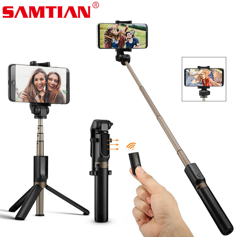 SAMTIAN Wireless Bluetooth Selfie Stick Tripod Foldable Handheld Monopod 360 Rotation Phone Stand For Photo Mobile Smartphone-in Selfie Sticks from Consumer Electronics