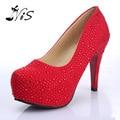 NOVO 2015 Mulheres sapatos de Salto Alto Sapatos de Casamento Do Baile Senhora Plataformas de Cristal Glitter Prata Strass sapatos de Noiva Sapatos Bomba Partido Salto Fino