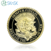 Wholesale New home decoration accessories antique bronzed plated coin token Unite States Marine Corps Demon dog challenge coins