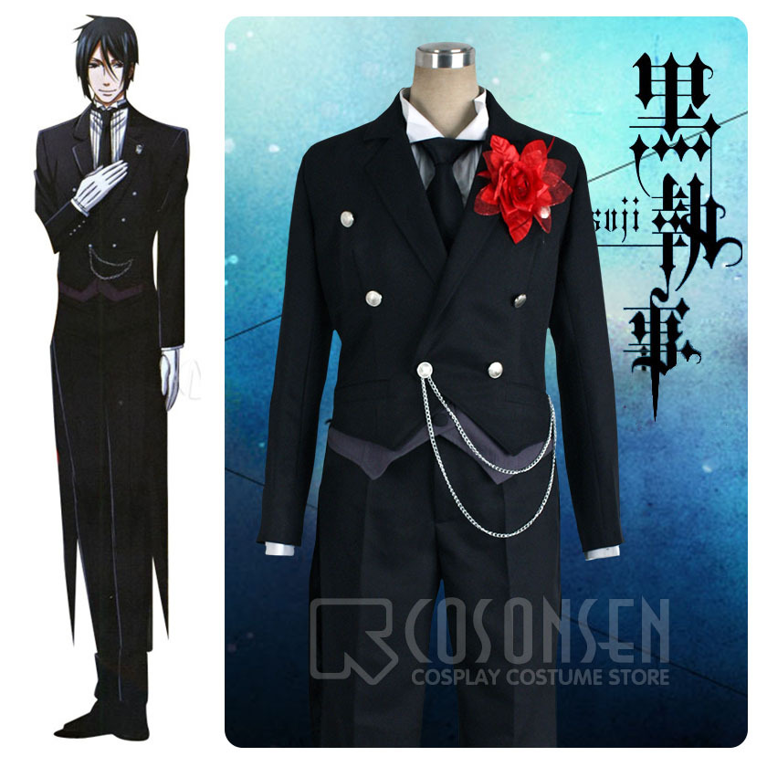 COSPLAYONSEN Black Butler II 2 Sebastian Kuroshitsuji Black Uniform Halloween Cosplay Costume Custom Made for Carnaval Disfraces