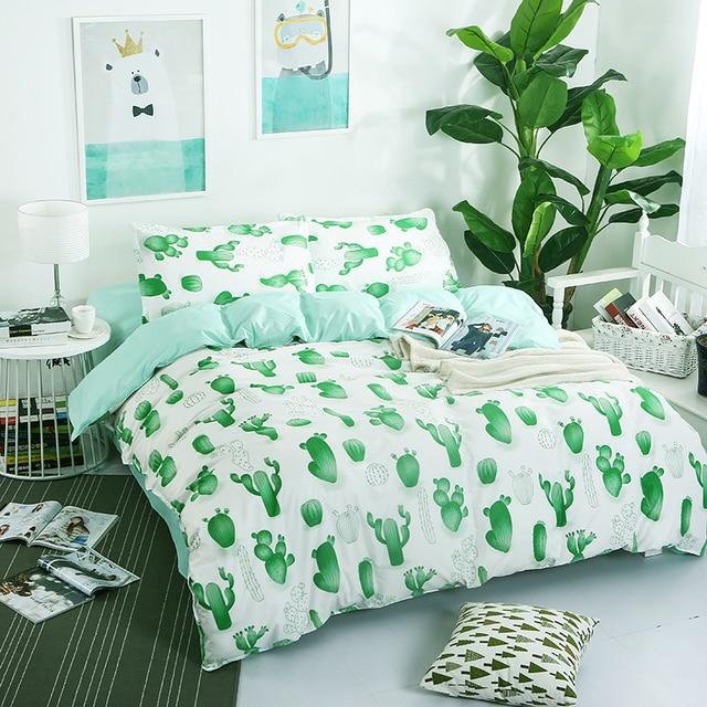 doux style vert cactus imprim ensembles de literie draps. Black Bedroom Furniture Sets. Home Design Ideas