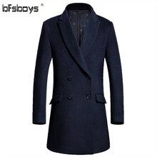 Зима 2016 Новая мода Длинные траншеи пальто шерстяное Пальто мужчины двубортный пальто мужской одежды, M-3XL 817