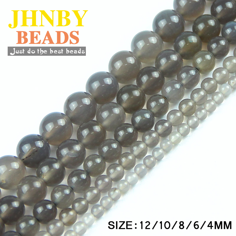 JHNBY Natural Stone Grey carnelian beads Round Loose beads Stone ball 4/6/8/10/12MM For Jewelry bracelet Making DIY accessories