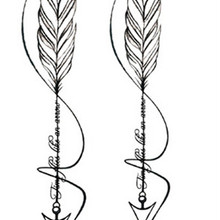 2747101a678ae Saner Lian Waterproof Temporary Fake Tattoo Stickers Grey Feather Arrow  Design