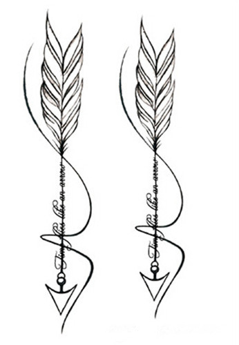 waterproof temporary fake tattoo stickers cool grey feather arrow