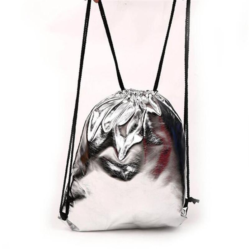 1pc Solid Color Gift Bag Drawstring Bag With Pu Leather Strap Pocket To Hold Drawstring Sports  Small Mini Travel Bags