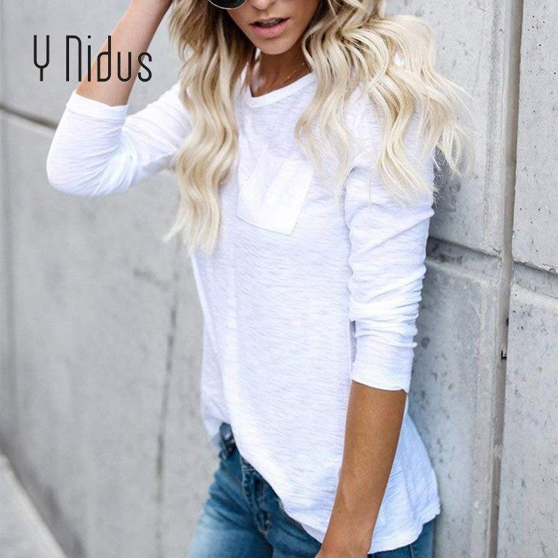 Y Nidus Womens T-Shirt Summer & Autumn Summer Cotton Long Sleeve Casual Plain Pockets Shirts White Basic Tops blusas feminina