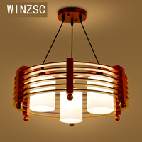 Одноцветное люстра деревянная современной деревянной ресторан творческий деревянные настольные лампы круговой простой люстра три обеден