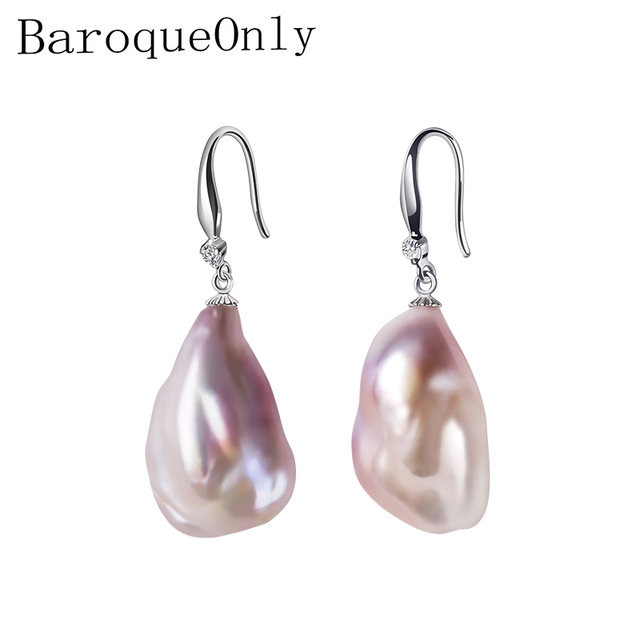 BaroqueOnly Genuine Baroque Pearl Earrings, Trendy Earrings Fine Jewelry 15-23 mm Irregular Pearls Earrings for Women Gifts EB