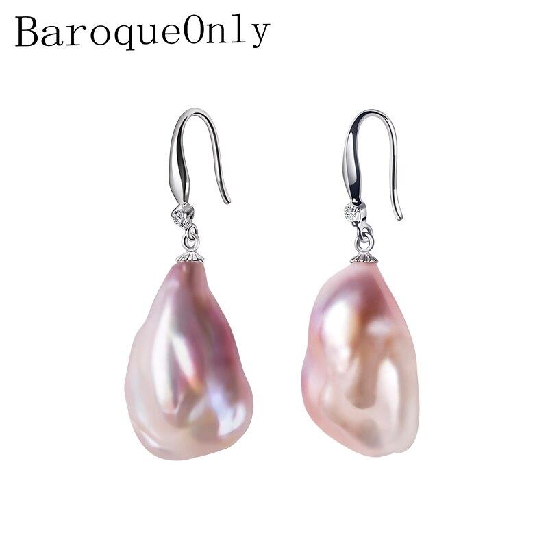 BaroqueOnly Véritable Baroque boucles d'oreilles perles, Boucles D'oreilles À La Mode bijoux fins 15-23mm Irrégulière Perles boucles d'oreilles pour femmes Cadeaux EB