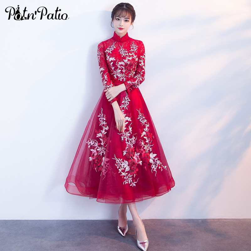 PotN Patio Chinese High Neckline Long Sleeves Evening Dresses 2018 New Elegant Tea Length Long Evening