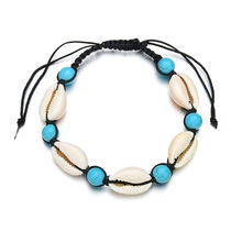 Fashion Bohemian Natural Shell Anklets for Women Handmade Blue Beads White Ankle Bracelet Beach Jewelry Wedding Party Gift