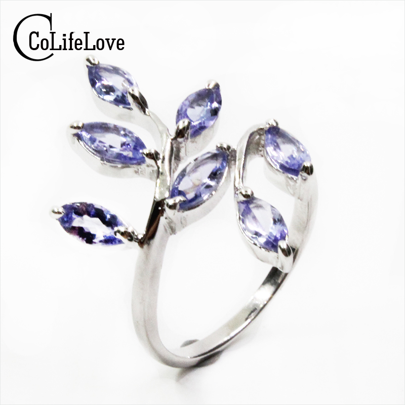 все цены на CoLife Jewelry silver leaf ring 7 pcs 3 mm * 6 mm natural VVS tanzanite silver ring solid 925 sterling silver tanzanite ring онлайн