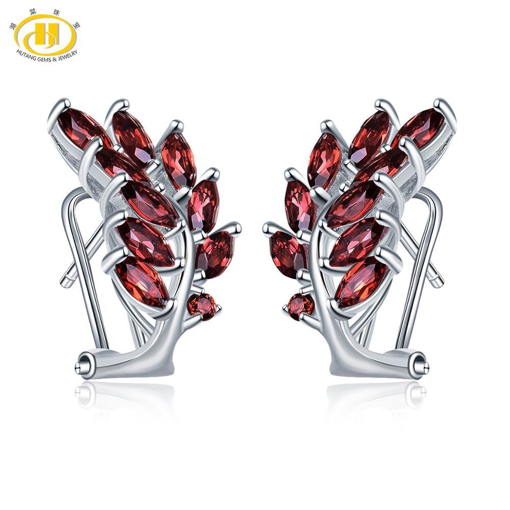 Hutang pierres précieuses rouge grenat Clip boucles d'oreilles 925 en argent Sterling bijoux fins Design Vintage pour les femmes meilleur grand cadeau nouveau