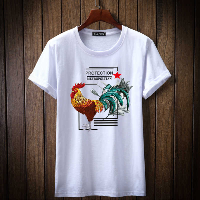 2019 Nieuwe Fashion Brand tshirt Cock Retro Gedrukt Mannen t-shirt Korte Mouw Casual t-shirt Hipster Fractal Patroon tees Cool tops