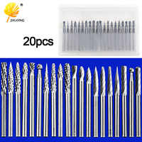 20pcs Tungsten Carbide 3mm Drill Bits Rotary Burrs Metal Diamond Grinding Woodworking Milling Cutters For Drill bits
