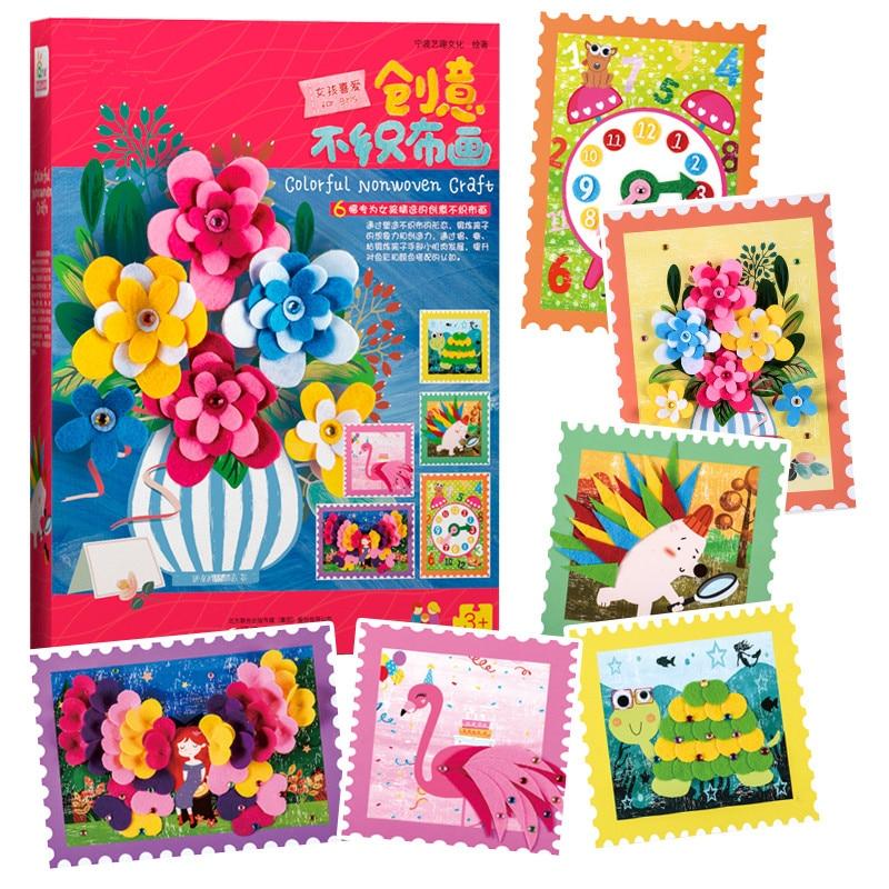 Happyxuan 6 Pictures/box Felt Crafts Kit Kids Sticker DIY Creative Girl Toy Kindergarten Handicraft Art Material Birthday Gift