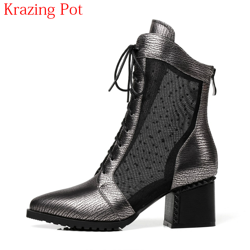 2018 Cow Leather Mesh Rivets Cross-tied Zipper Lace Up British Style High Heels Pointed Toe Summer Boots Women Ankle Boots L36 british style lace up and round toe design women s boots