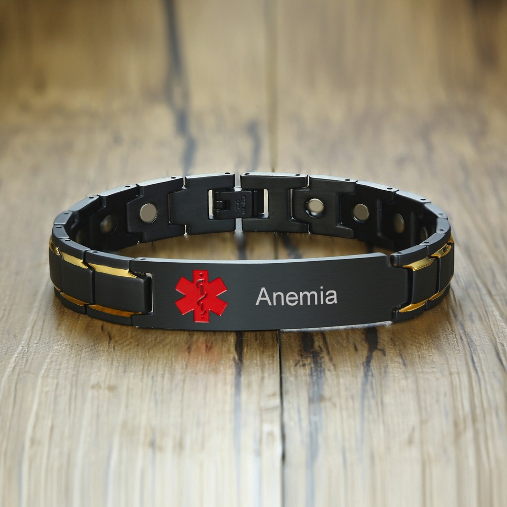 Stylish Customizable Black Stainless Steel Red Medical Alert ID Magnetic Bracelet for Men Jewelry Medical Identification Bangle vnox free engraving unisex stainless steel medical alert id stretch bracelet for men and women jewelry