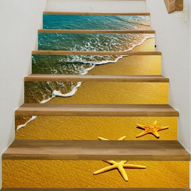 Yazi 6PCS 18x100CM Starfish Self Adhesive Stair Sticker Waterproof Vinyl  Stairs Refurbished Wall Sticker Stairway