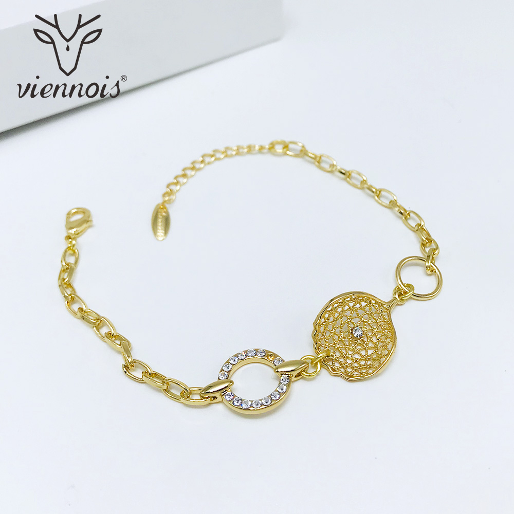 Viennois Bangles Bracelet Jewelry Circle Geometric Women Rose-Gold/gold-Color for Hollowe