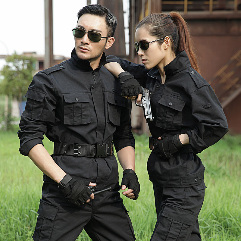 Men Black Army Tactical Military Uniform Camouflage Combat Shirt Clothes Women Hunt Suit Jacket + Pants Outdoor Training Suit(China)