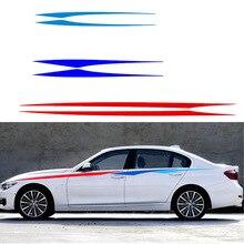 2pcs Car Side Stripe Vinyl Decal Sticker Waist Line Door Decals Tricolor for BMW