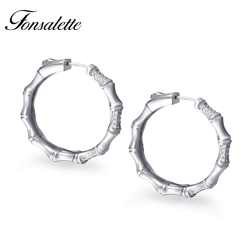 Trendy Woman Hoop earrings 925 Sterling Silver Post Earring Skinny Circle CZ Bamboo Shape ear Female Jewelry Wholesale Gift zk30 bamboo big hoop earrings