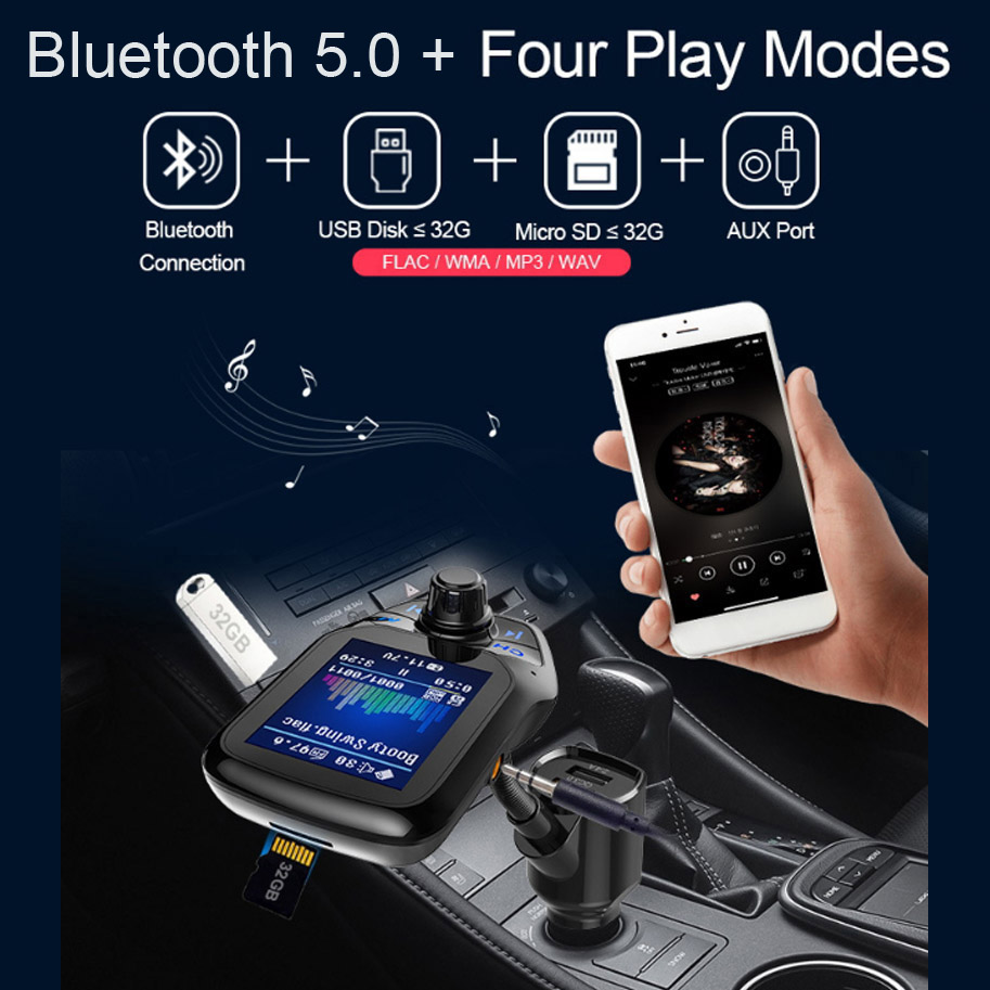 AGETUNR 1 8 quot TFT Display Bluetooth Car Kit Handsfree Set QC3 0 Quick Charge FM Transmitter MP3 Player USB Flash TF AUX In Out in Bluetooth Car Kit from Automobiles amp Motorcycles