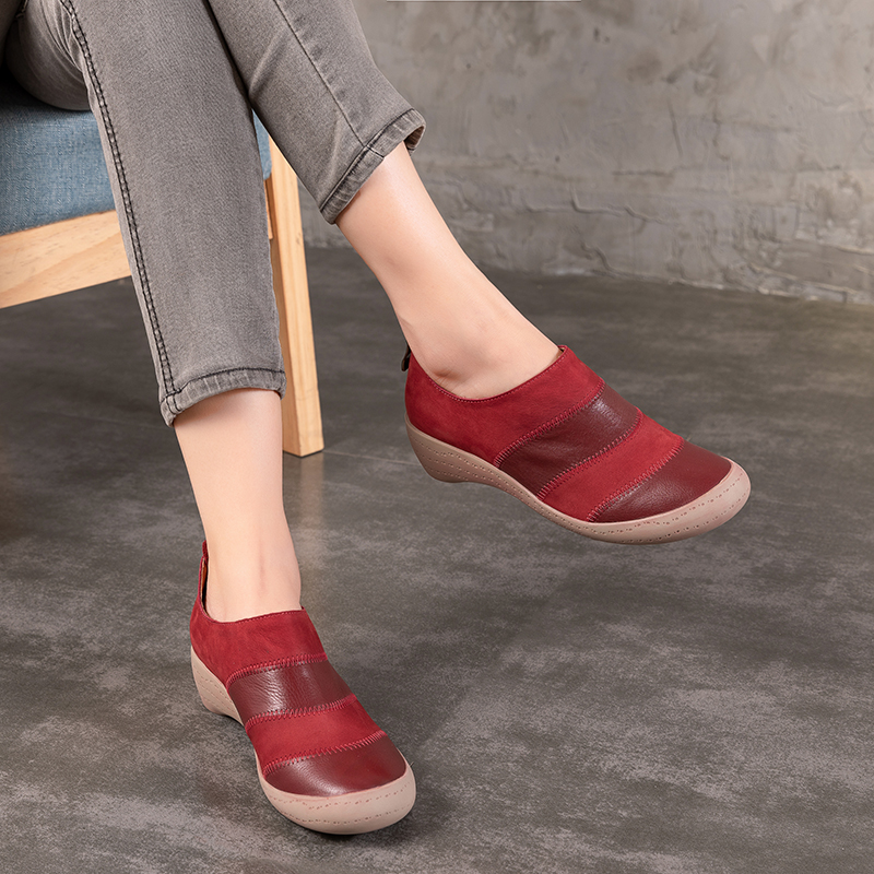 2018 Autumn New Arrival Genuine Leather Women Bootie Wedges Handmade Vintage Mixed Color Ladies Shoes Ankle